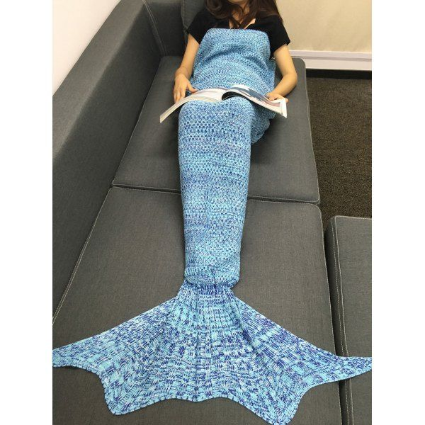 86dc830eb90 Stylish Multicolor Knitting Sleeping Bag Fish Tail Design Blanket For Adult