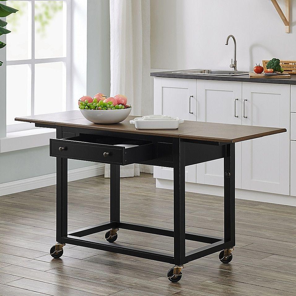 Southern Enterprises Claredale Drop Leaf Kitchen Cart In Black Kitchen Cart Stools For Kitchen Island Modern Kitchen Island