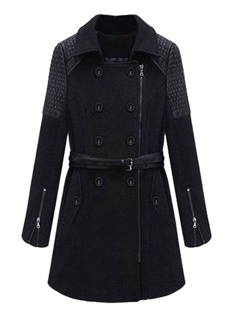 Black pu paneled doubleebreasted woolen coat wear it pinterest