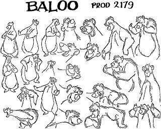 Croquis baloo du livre de la jungle de walt disney - Personnage disney dessin ...