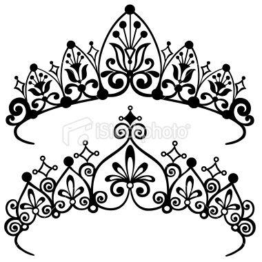 Princess Tiara Crowns Silhouette Vector Illustration