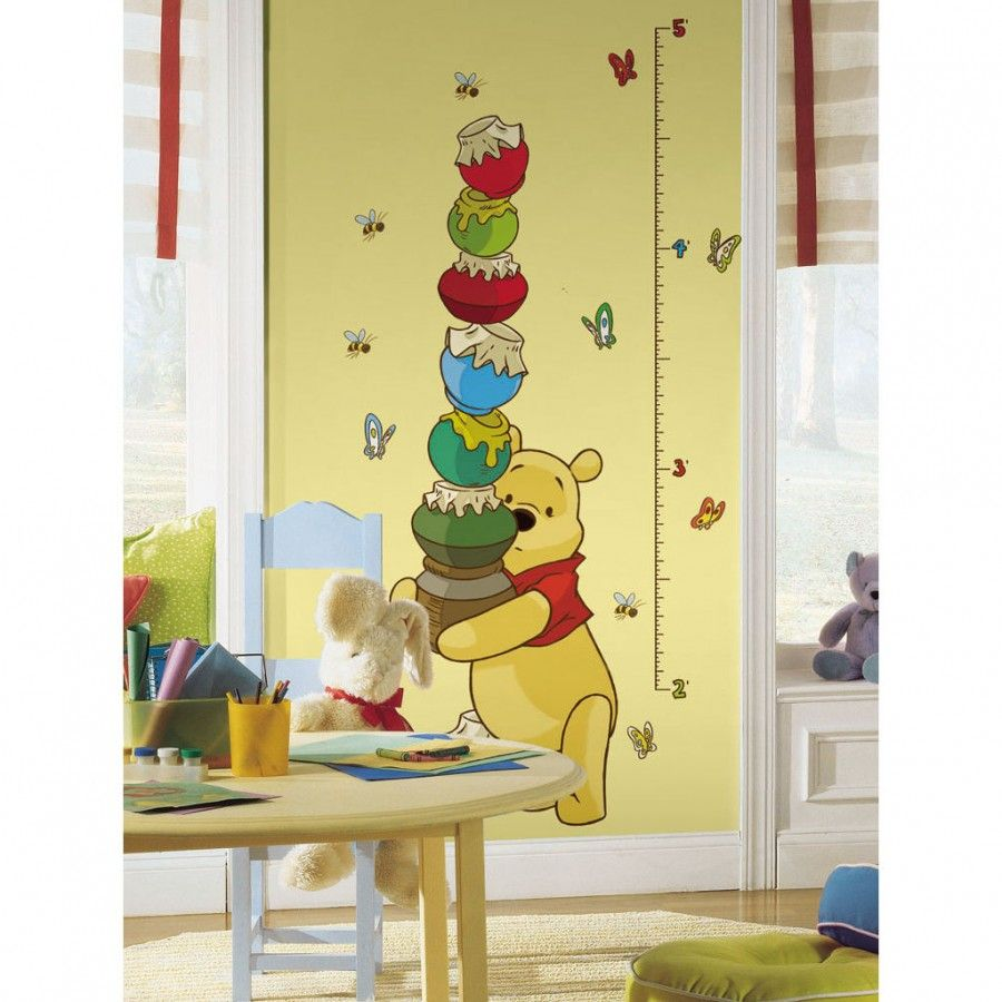 Room Mates Licensed Designs Pooh Peel and Stick Growth Chart ...