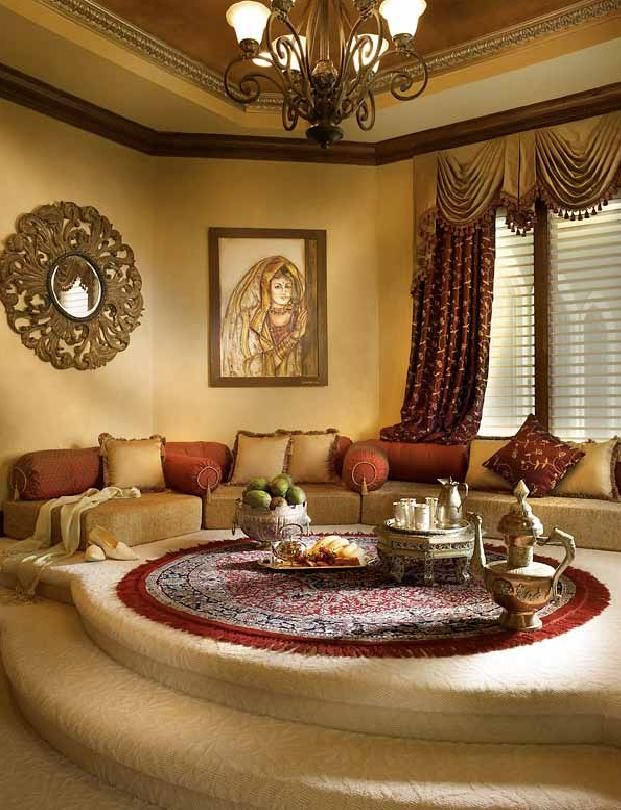 A Moroccan Style Platform Majlis Sitting Room Moroccan Living Room Arabian Decor Home