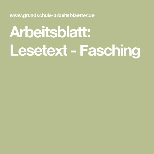Arbeitsblatt: Lesetext - Fasching | Schule | Pinterest