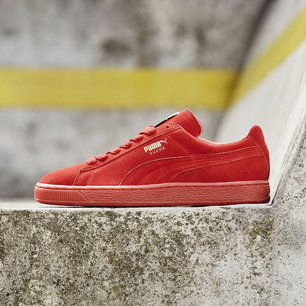 premium selection c5997 61807 The Puma Suede Classic Trainer in high risk red & gold ...
