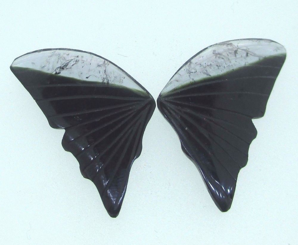 15.9ct Tourmaline Butterfly Wings Carving Natural Loose Stone Bi Color Gemstones