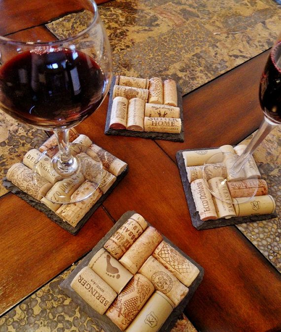 Cork Crafts For Weddings: Slate Wine Cork Coasters Perfect For Bridesmaid & Wedding