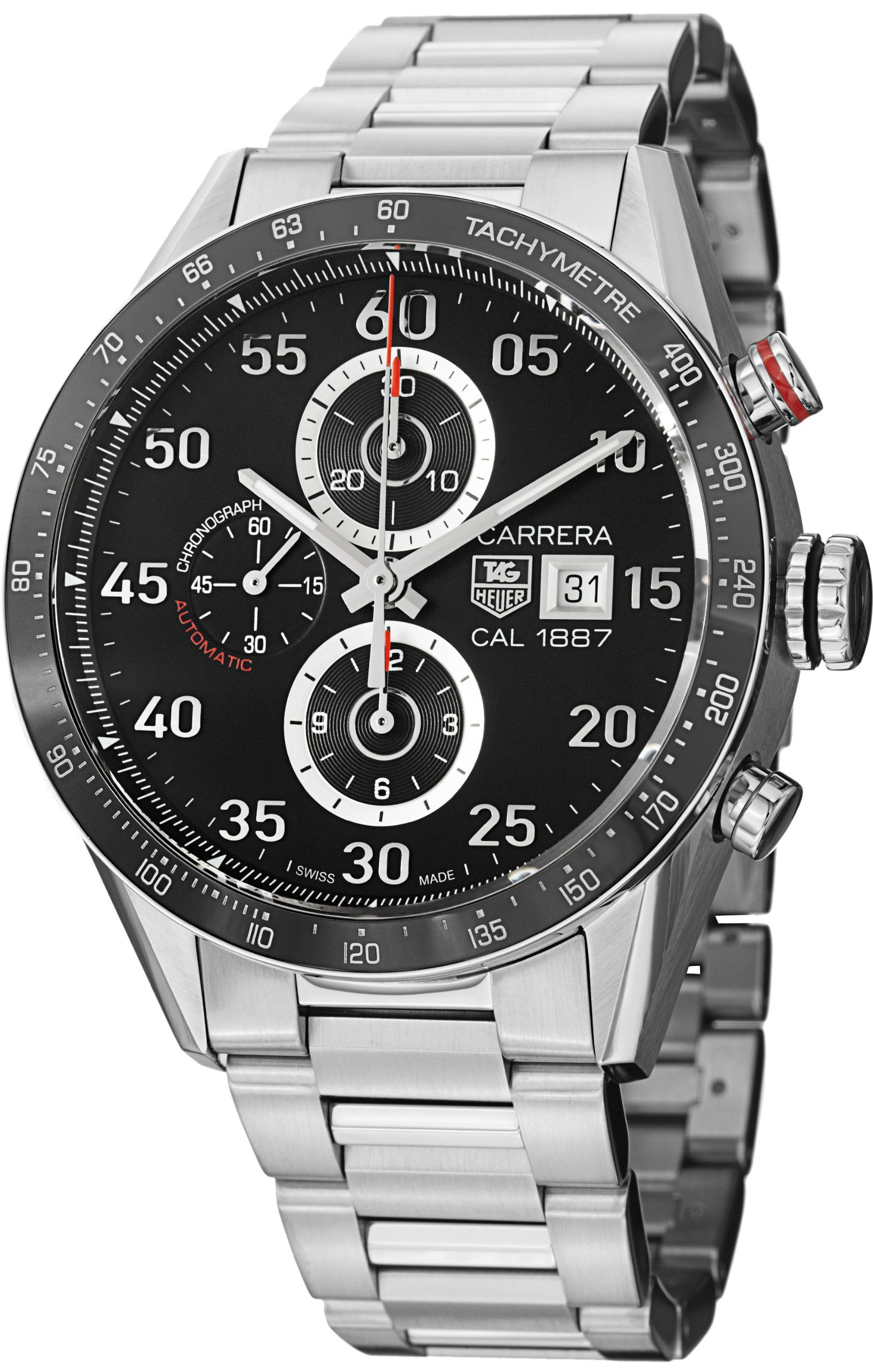 d6c47719526 Tag Heuer Carrera Black Dial Stainless Steel Automatic Chronograph Mens  Watch