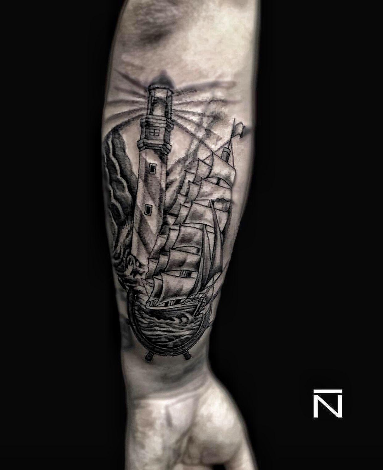 Sea Gemi Deniz Yelkenli Lighthouse Dovme Tattoo Dovme Modelleri