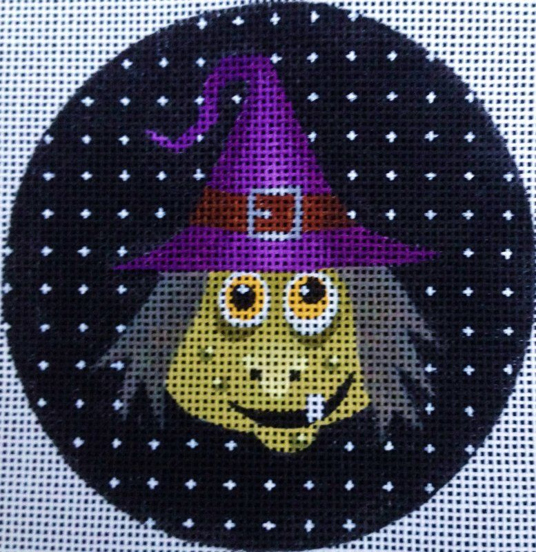 Halloween Needlepoint Ornament of scary Agnes the Witch.