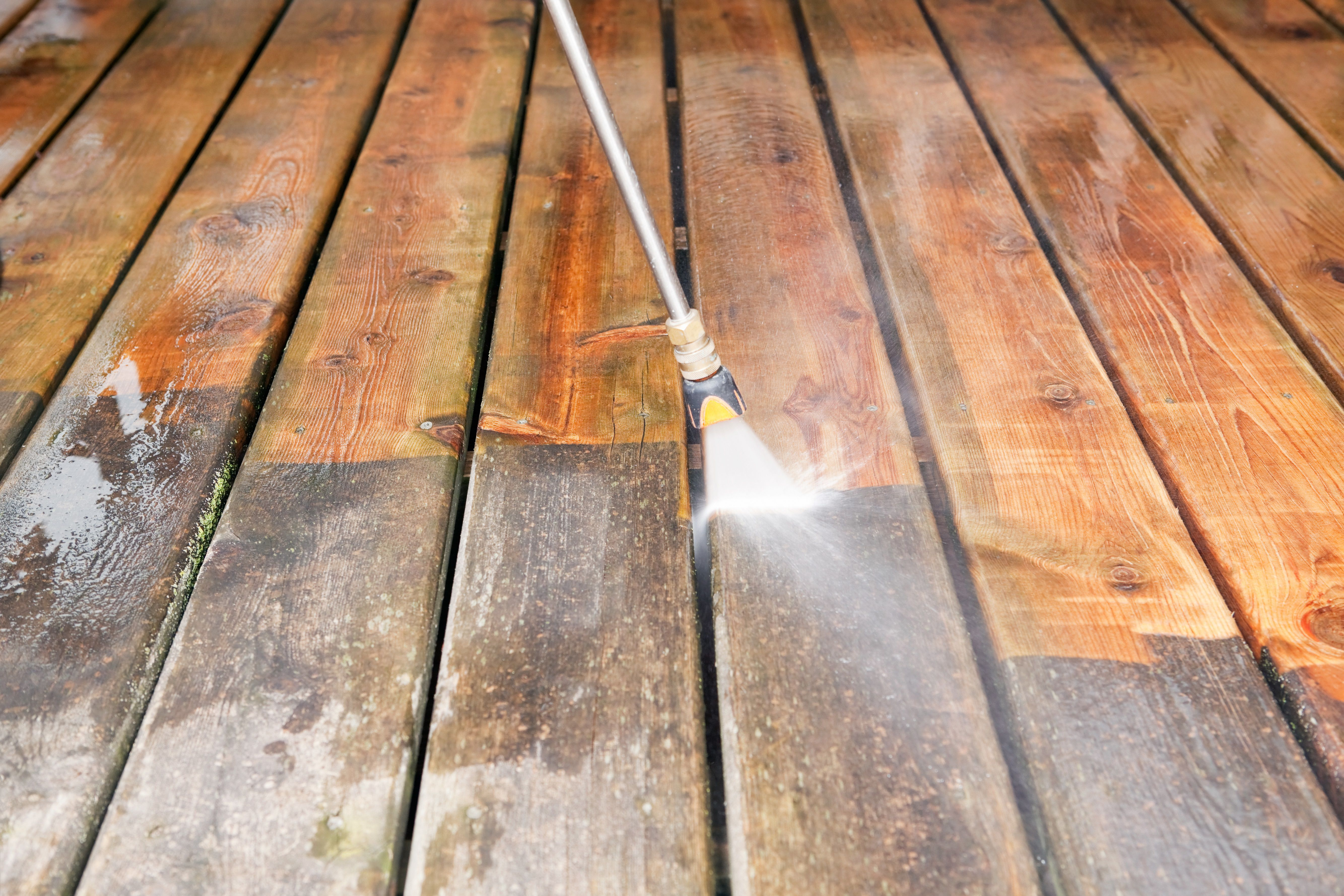 Quickly Clean A Deck By Pressure Washing Wood Deck Deck Paint Deck Refinishing