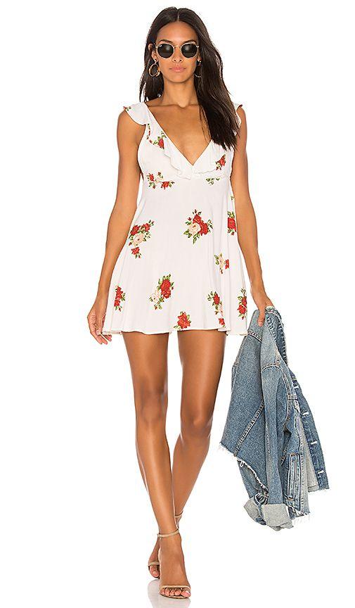 07cd141107e7 Motel Kasmara Mini Dress in Floral Rose Cream