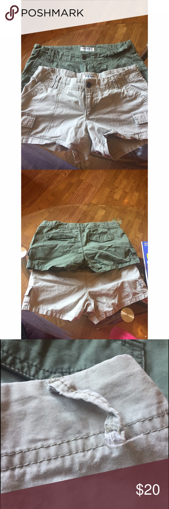 Two pairs of cargo style women's shorts. Worn only a few times. No known blemishes on the olive colored shorts. One belt loop on the khaki shorts is broken (picture attached). Old Navy Shorts