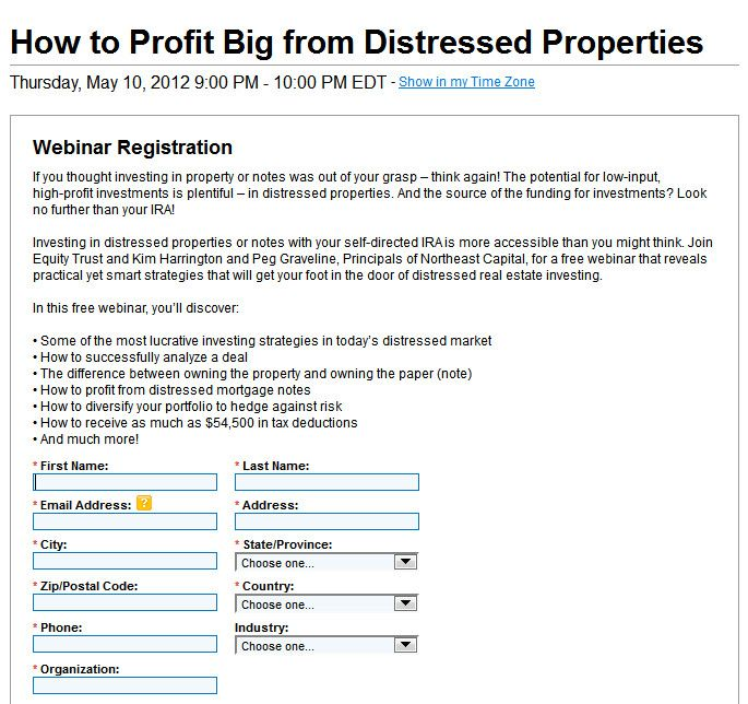Profit from Distressed Property Registration Page