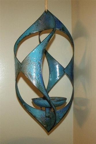 Vtg Hanova Mid Century Modern Enamelware Hanging Sculpture Candle Holder Blue   eBay