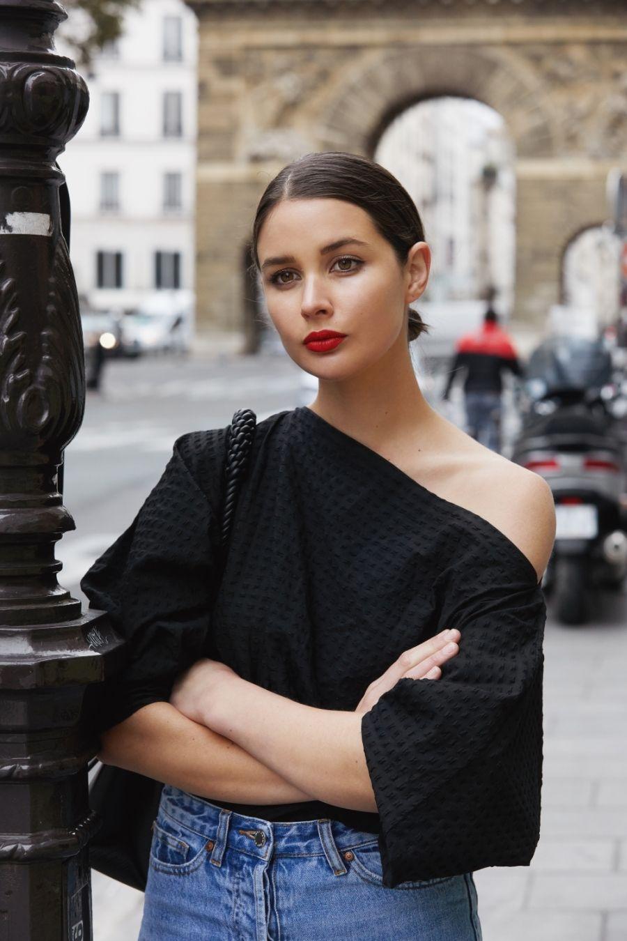 Black And Denim In Paris Red Lipstick Beauty Harperandharley Wedding Hair Trends Ponytail Styles Style [ 1350 x 900 Pixel ]