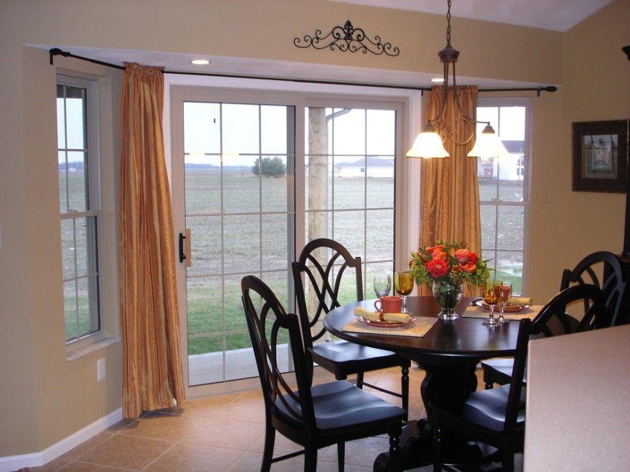 Bay Windows Design Sliding Door Window Treatments With Curtains