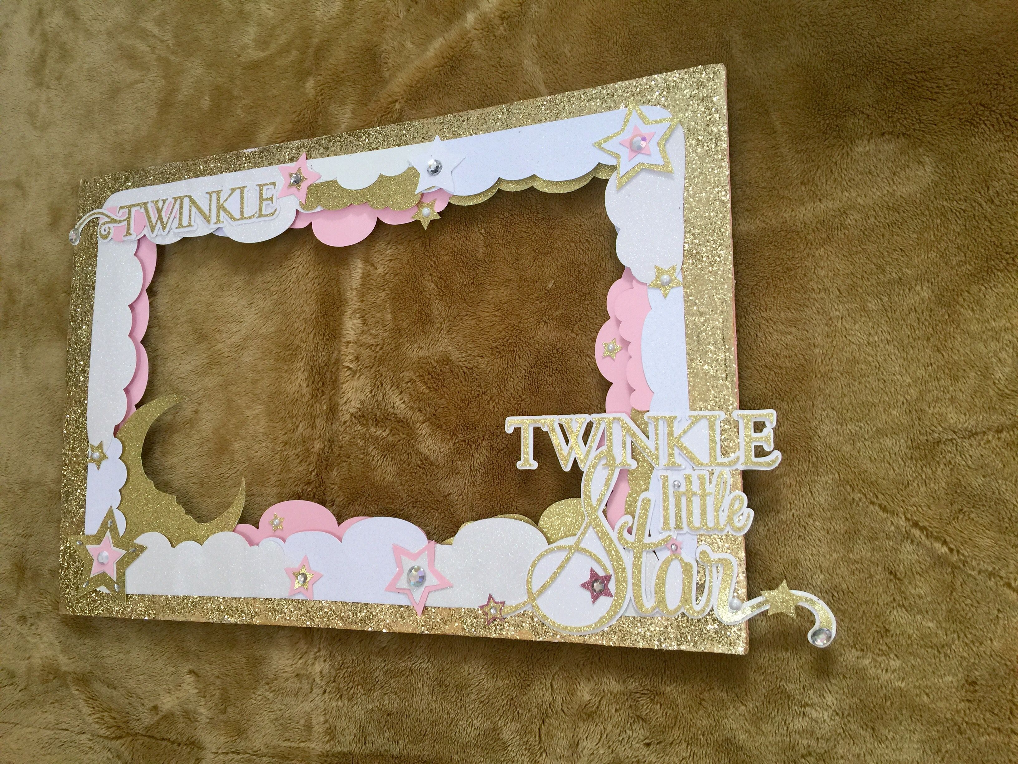 All Pink Twinkle Twinkle Little Star Photo Frame For Gender Reveal