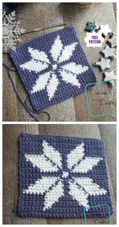 Tapestry Snowflake Afghan Square Free Crochet Patterns #afghanpatterns