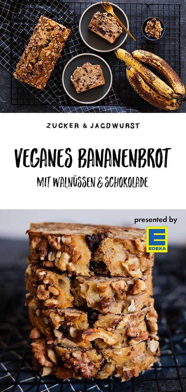 Veganes, simples Bananenbrot mit Walnüssen & Schokolade - Zucker&Jagdwurst #walnutsnutrition