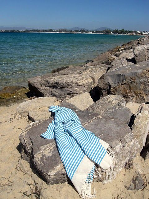 Blue Stripes At The Beach Beach Fouta Towels Outdoor Blanket