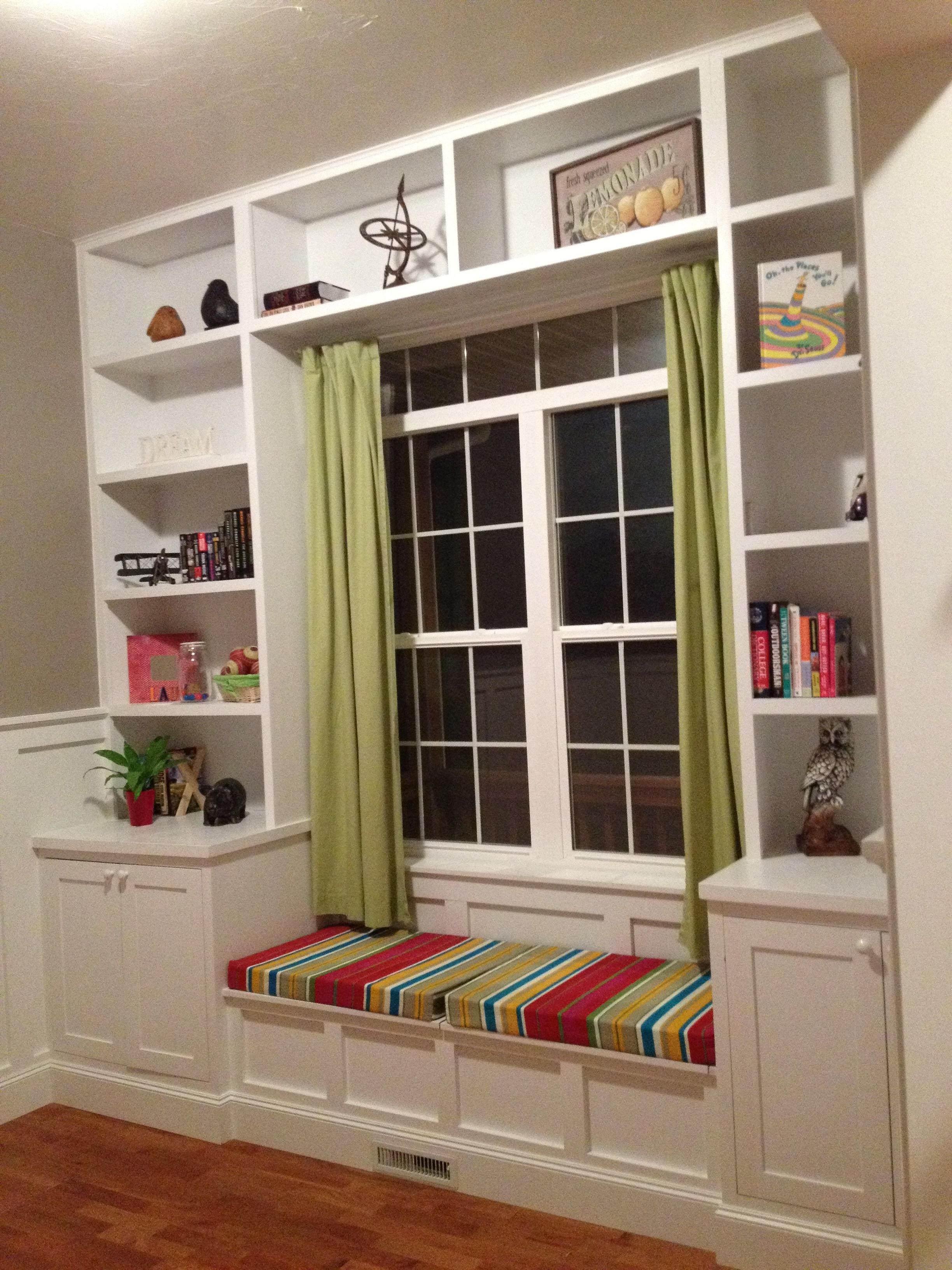 Built Bookshelves Around The Window Seat For Daydreaming Had These Custom