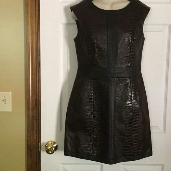 Mark Leather Look Dress NWT Brown with Black trim. size Medium. Shells is 51% polyester, 49% Rayon with 100% polyurethane coating. Made in China. 33 inches from shoulder to bottom. zipper up the back of dress. Mark Dresses