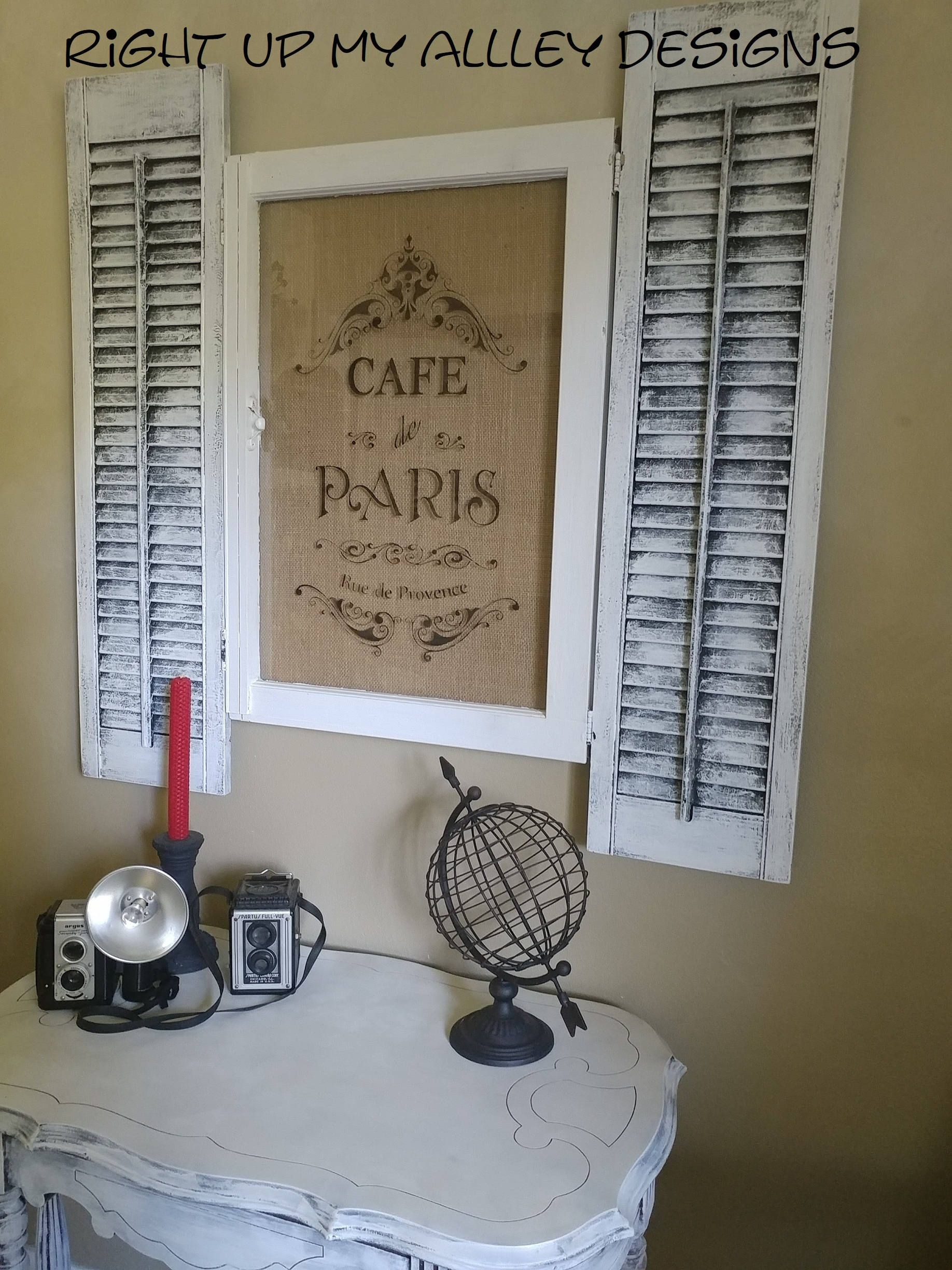 Window and shutter decorfrench cafefrench decorshabby chiccafe de paris stencil burlapold window decorwindow artwindow pane art by