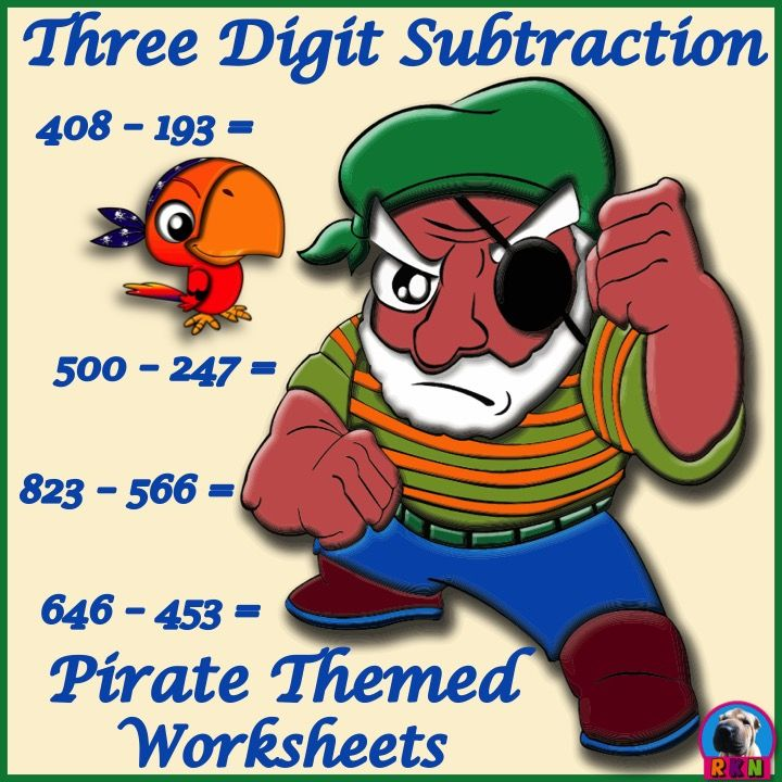 Three Digit Subtraction Worksheets - Pirate Themed - Horizontal (15 ...