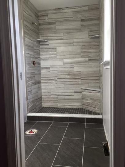 Marazzi Vitaelegante Grigio 12 In X 24 In Porcelain Floor And Wall Tile 15 6 Sq Ft Case Ulrt1224hd1pr The Home Depot Basement Bathroom Design Dark Tile Bathroom Mobile Home Bathrooms