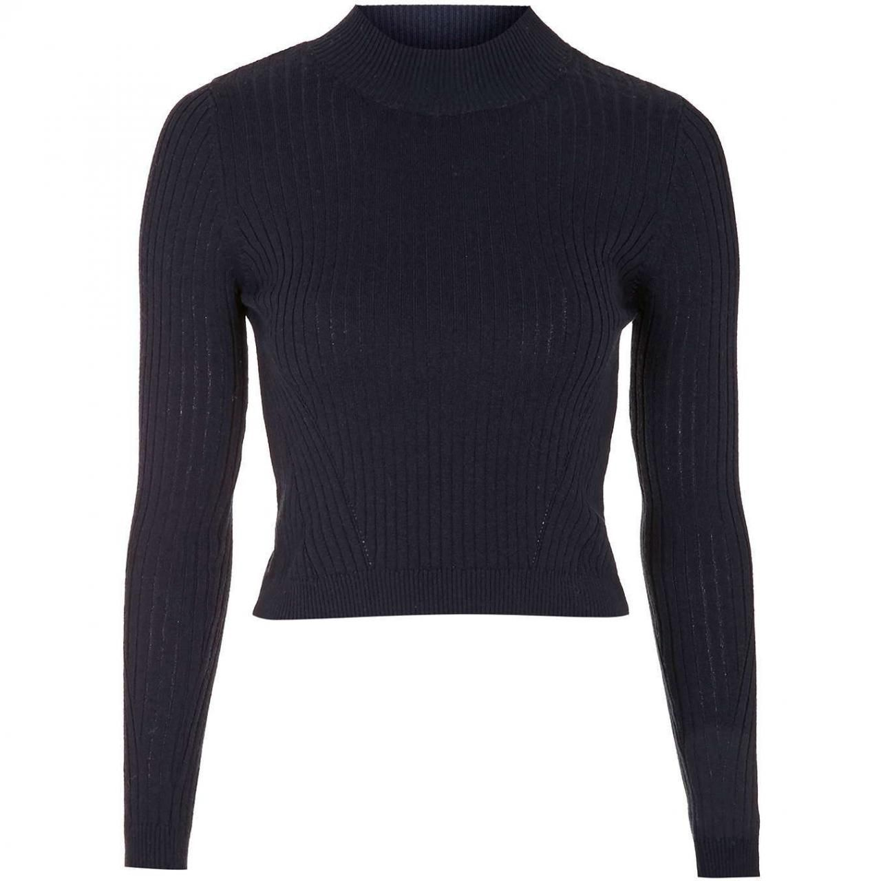 Topshop Ribbed Wool Blend Cropped Sweater in Cobalt | Shops ...