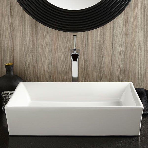 Pop Rectangle Vessel Bathroom Sink Room Scene- Canvas White