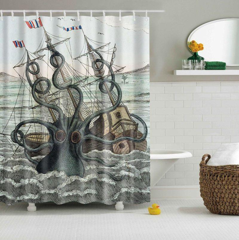 Colored Octopus Kraken Attack Galleon Carrack Custom Shower Curtain Multi Size