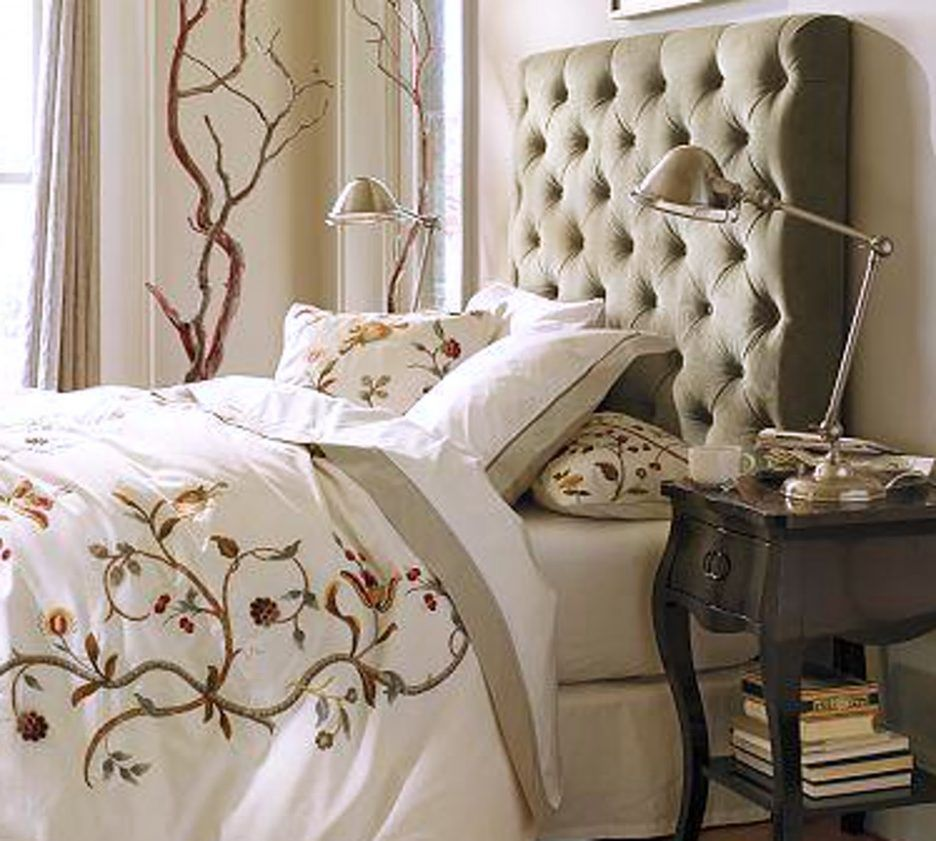 king size headboard with unique table lamp   bedroom : Homemade King Size Headboard Ideas Tufted ...