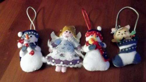 4 vintage felt stuffed christmas tree snowmen, angel,cat, hand