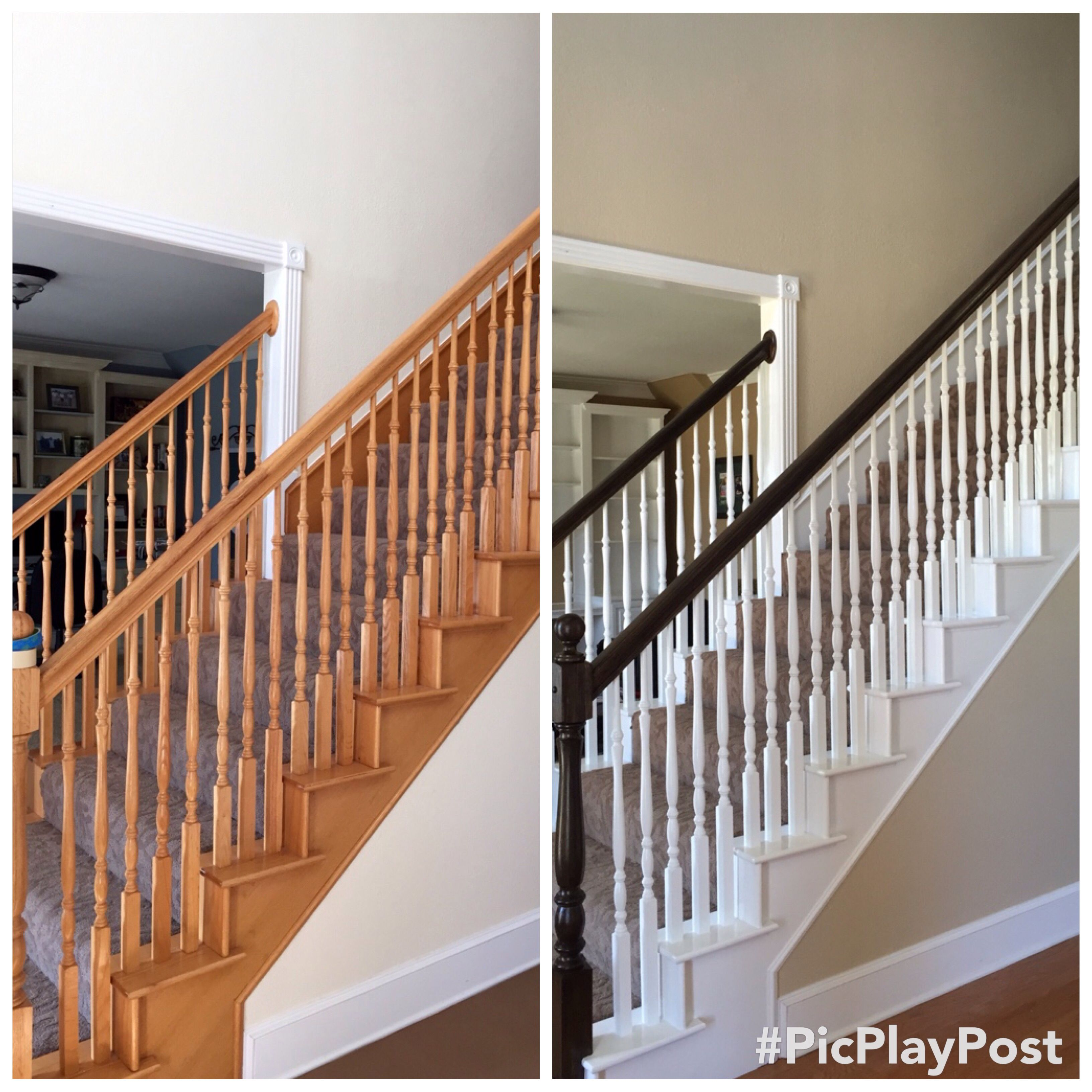 Oak Staircase Makeover Staircase Makeover Stair Makeover Diy | Cost To Refinish Wood Railing | Stair Treads | Interior | Gel Stain | Paint | Balusters