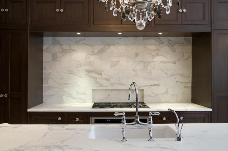 Toronto Interior Design Group Kitchens Coffee Stained Shaker Kitchen Cabinets Calcutta Gold Marble Back Backsplash Tile Design Toronto Interior Design