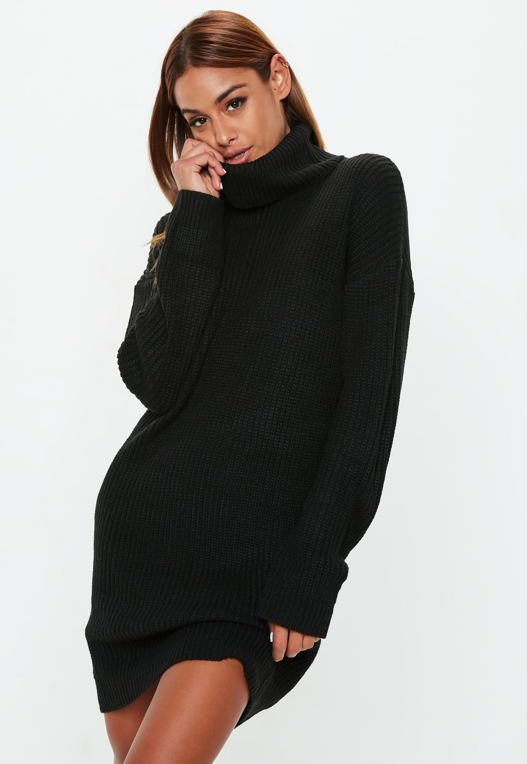 Tall black basic roll neck jumper dress in wishlist