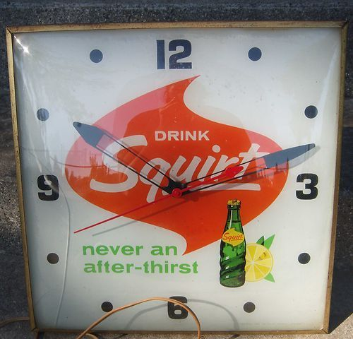 Vintage 1965 PAM Drink Squirt Illuminated Clock Square With Domed Face