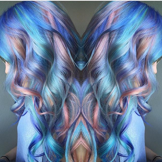 Mermaid hair with ribbons of blue hair colors and pink hair color by Sam Ploskonka pastel hair color melt hotonbeauty.com