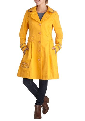 Paddington Flare Coat: Even if the weather in London is  well  London-esque  youll feel bright and bubbly as you tour the city by underground. Disembarking at historic Paddington stat…    #1960s #60s #Retro #Vintage #Blutsgeschwister, #PaddingtonFlareCoat, #Yellow