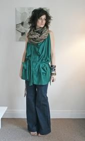 """green proportion scarf - not sure I""""m tall enough to pull this off....."""