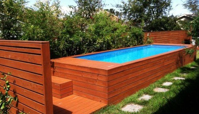 wooden shipping container pool
