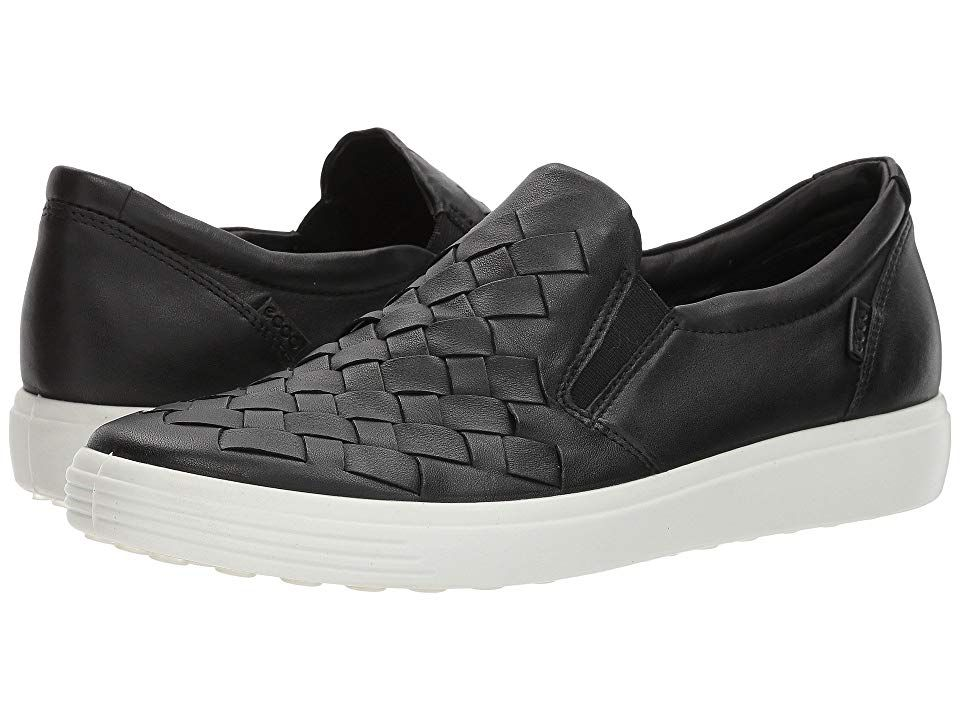 118964027e ECCO Soft 7 Woven Slip-On Women's Slip on Shoes Black Cow Leather ...