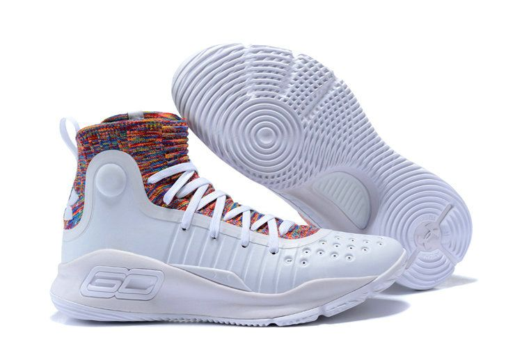 d4a3f784f776 New Under Armour Stephen Curry 4 White Multi Color Curry Basketball Shoe For  Sale