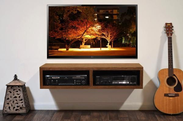 Wall Mounted Entertainment Stand Includes Easy To Install Wall Mounting  Hardware With Bubble Levels This TV