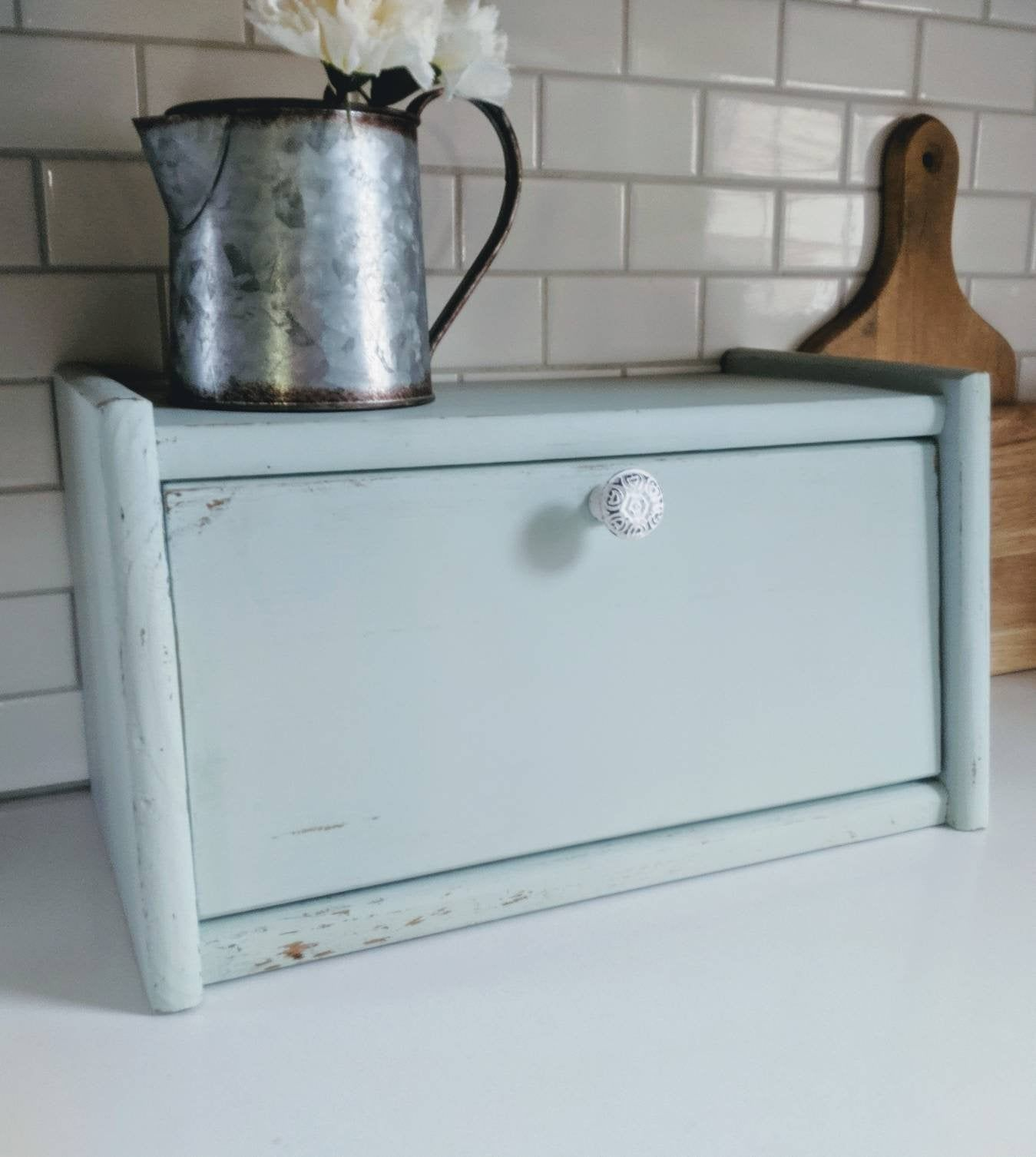 Painted bread box, bread storage, Counter Storage, Rustic
