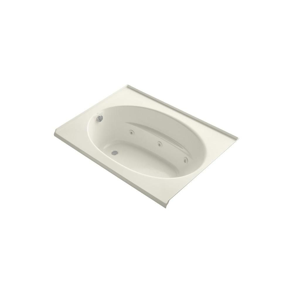KOHLER Windward 5 ft. Acrylic Oval Drop-in Whirlpool Bathtub in ...