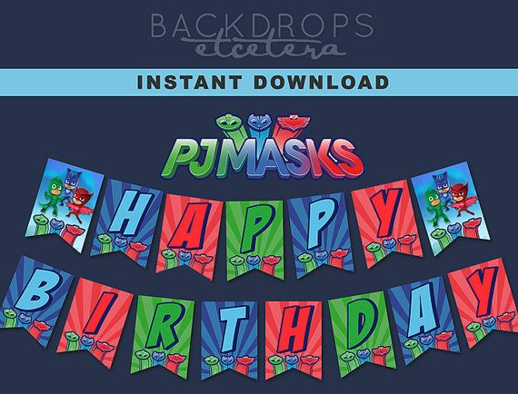 PJ MASKS Happy Birthday Banner // Party Banner by BackdropsEtc
