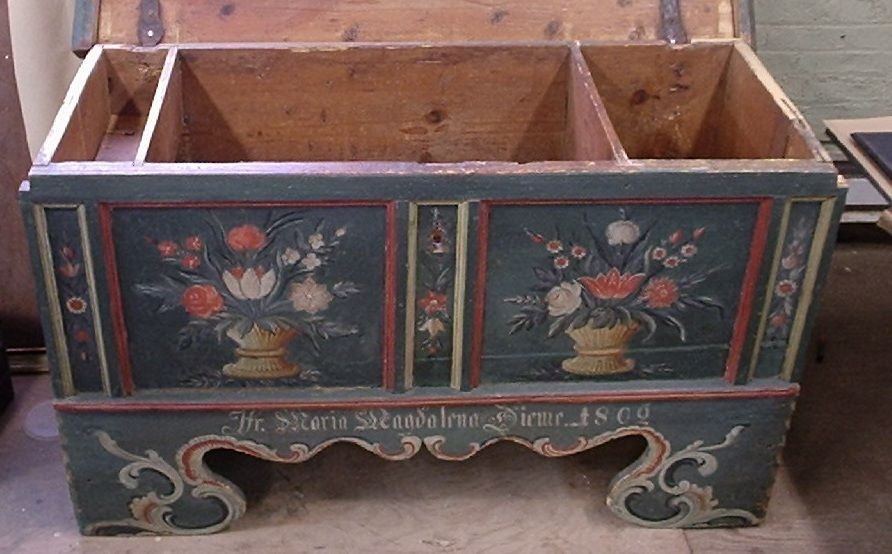 Front of Pennsylvania Dutch chest after conservation of milk paint finish. - Milk Paint Conservation For Antique Furniture And Decorative Objects